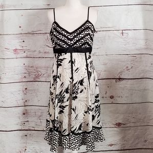 Sue Wong Black and white Dot and Floral Dress NWT